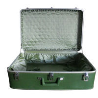 Vintage Green Suitcase Large Avocado Featherlite Luggage - Light Green Interior
