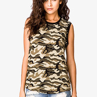 FOREVER 21 Rhinestoned Camo Muscle Tee Olive/Black