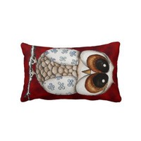 Floral Owl Red Throw Pillow from Zazzle.com