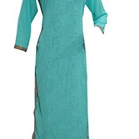 Women's Tunic Dress Blue with Floral Lining Georgette Kurti Ethnic Wear Caftans