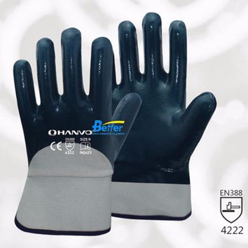 Oil and Gas Work Glove Heavy Duty Cotton Jersey With Nitrile Coated Safety Glove