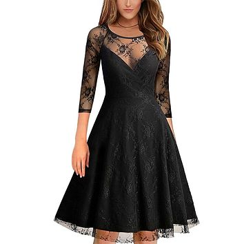 DRESS Vintage 50s 60s sexy Lace dresses 2018 Women O Neck Slim Sexy Pin up Rockabilly Solid 3/4 Sleeve A-Line Fashion Dress