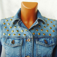 Vintage look sexy short jeans Gold Golden studs round studded women rocker blue jacket size XS S