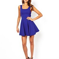 ASOS PETITE Exclusive Skater Dress With Bow Back at asos.com