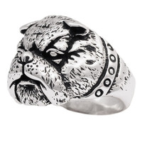 Silver Bulldog Ring - Army Mascot in Sterling SIlver 925 - Custom Fitted Sizes