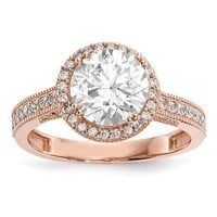10k Rose Gold Solid Tiara Collection CZ Halo Ring