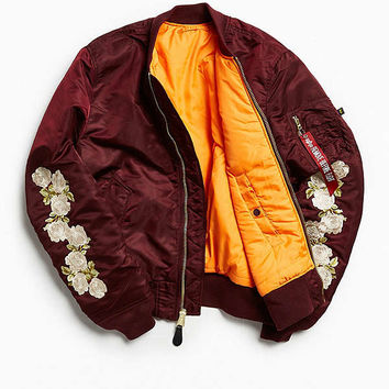 Alpha Industries X UO Rose Sleeve Bomber Jacket | Urban Outfitters