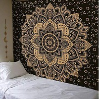 Madhu International Mandala Gold Tapestries (90 x 108inch, Black)