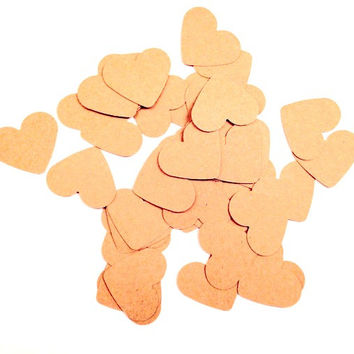 kraft paper heart confetti cutouts for wedding showers, Valentine's Day, cardmaking, gift tags, or scrapbooking die cuts