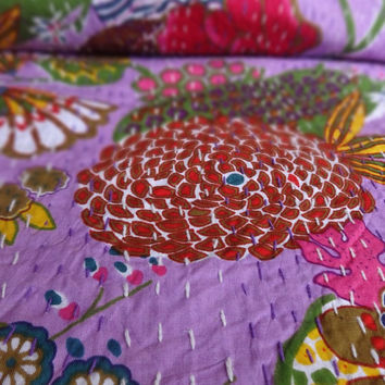 Handmade Fruit Print Kantha, Queen Size Tropical Bedding, Purple Color Theme, Reversible Kantha Bed Cover, Indian Cotton Bedspread