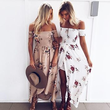 Long dress women Off shoulder dresses Floral print