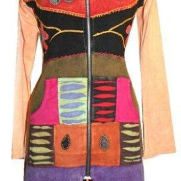 R-10 Razor Cut Embroidered Funky Long Cotton Bohemian Jacket