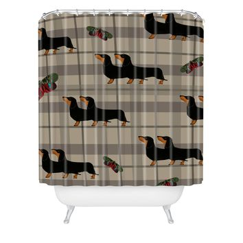 Natt Gray Tartan And Dachshund Shower Curtain