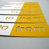 Die Cut To/From Gift Tags in white and yellow by ReadyGo on Etsy