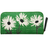 mrs burton, big zip wallet. satchel green fig daisy --- Lisa Stickley London