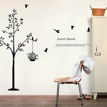 Tree wall decals bird cage wall decal tree wall sticker bird cage wall stickers birds wall decals bird wall sticker tree decal bird decals