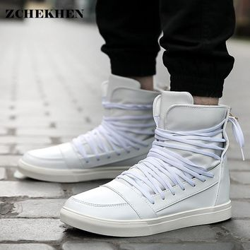Fashion 2017 hip hop kanye N roll High trainers Cool Men Martin Boots Height Increasing Lace Up Male justin Casual white Shoes