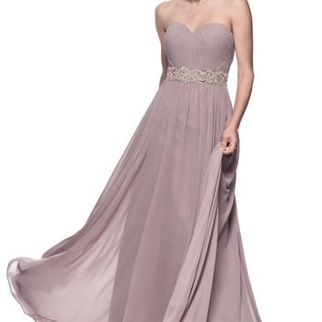 Strapless Empire Waist Evening Dress