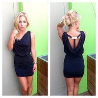 Black Scoop T-Back Mini Dress