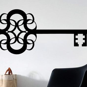 Skeleton Key Scroll Style Vinyl Wall Art Decal