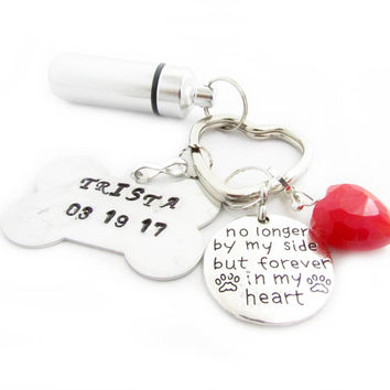 Hand Stamped Pet Ashes Keychain