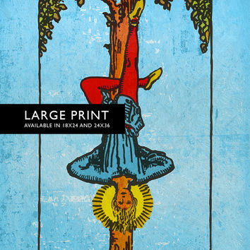 Tarot Print The Hanged Man Retro Illustration Art Rider Print Vintage Giclee on Cotton Canvas and Satin Photo Paper
