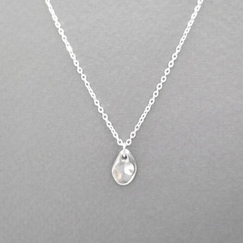 Dew, drop, necklace, sterling silver, dot, dainty, necklace, small, pendant, necklace, tiny, charm, jewelry, minimal, necklace, gift, idea
