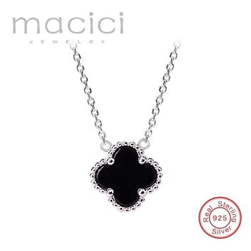 Double faced black four leaf clover necklace female 925 silver pendant chain Valentine' birthday gift (DA271)