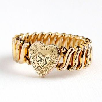 Vintage Rosy Yellow Gold Filled Initials MV Heart & Flower Expansion Bracelet - 1940s Stretch Sweetheart Engraved M V Letters Floral Jewelry