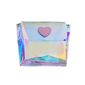 hologram beach bag transparent small purses girls crossbody bag women clutches holographic envelope lips purse mobile phone bag