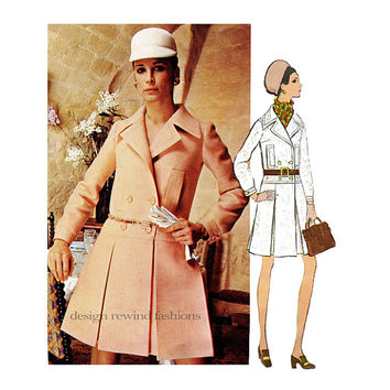 1960s VOGUE 2186 DRESS PATTERN Mod Double Breasted Pleated Skirt CoatDress Lanvin Paris Original Bust 32.5 Size 10 Womens Sewing Patterns