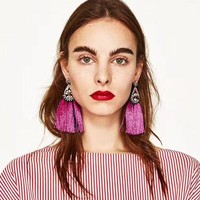ONETOW Tassel Dangle Earrings  Bohemian Drop Statement Earrings