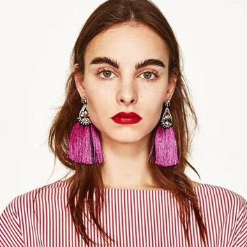 DCCKU7Q Tassel Dangle Earrings  Bohemian Drop Statement Earrings