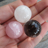 SET Of 3 Gemstone Spheres, Rose Quartz Sphere, Quartz Crystal Sphere, Smoky Quartz Sphere, 25mm Gemstone Sphere, Chakra Stones, Metaphysical