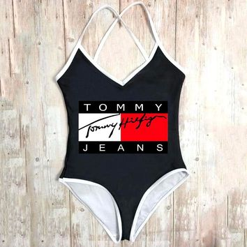 TOMMY JEANS Tide brand women's sexy backless beach bikini swimsuit Black