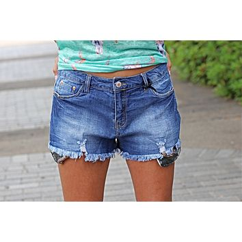 Sequin Pocket Denim Shorts