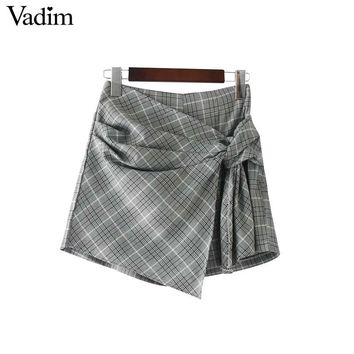 Women sweet bow tie plaid pleated shorts elastic waist side zipper ladies elegant casual