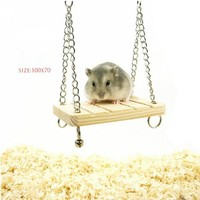 Mouse Rat Parrot Hamster Bell Swing with Chain Small Bell Suspension Poppled Hanging Ladder Wooden Toy