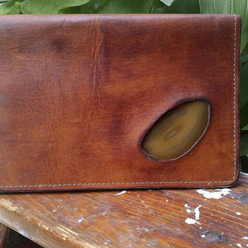 Handmade Leather Billfold Leather Journal Cover Brown Leather Wallet Leather and Carnelian Handmade Journal Cover 1970s Leather Billfold