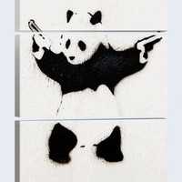 Panda With Guns 60in X 40in 3 Piece Canvas