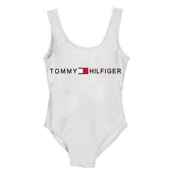 Tommy Hilfiger new simple children's slimming one-piece swimsuit 2#