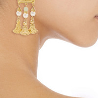Ben-Amun Gold-tone, stone and faux pearl clip earrings – 50% at THE OUTNET.COM