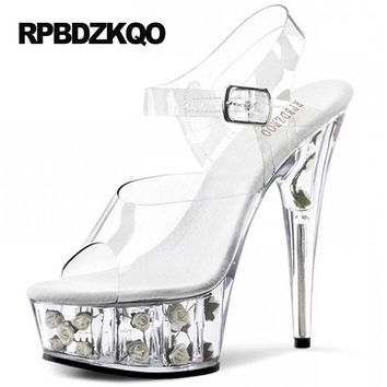 Fetish Clear Pumps Platform Perspex Pink Slingback Crossdresser Flower Rose Stiletto 15cm Ultra High Heels Transparent Stripper