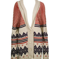 Cream Multi Knit Oversized Cardigan - Clothing - desireclothing.co.uk