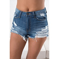 Into The Wild Distressed Shorts (Dark Wash)