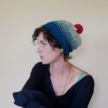 Ombre Gradient Knit Wool Slouchy Hat - Ocean Blue & White with Neon Pink Pom Pom