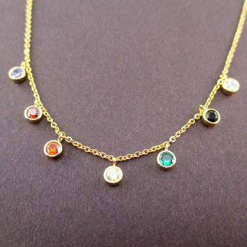 Dainty Colorful Rainbow Rhinestone Charm Necklace in Gold