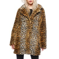 Leopard Animal Print Faux Fur Jacket