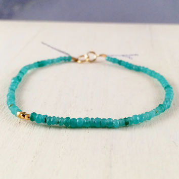 Sparkly and Teeny Tiny, Green Jade Rondelle Gemstone Bracelet with Tiny Gold Vermeil Beads and Silk Thread
