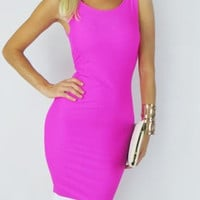 Purple Backless Zippered Dress with White Trim